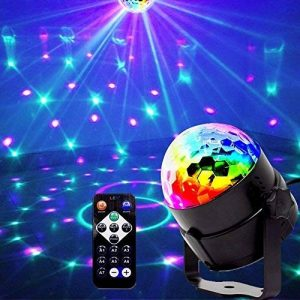 Mini Lumières de scène, EJBOTH Mini lampe magique RGB effet de scène LED tournante lampe boule de Fête Lumière LED cristal pendentif balise lumineuse + Remote Control Atmosphere Ball for Disco KTV Bar Club Christmas DJ Magic Ball de la marque EJBOTH image 0 produit