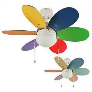 MiniSun 76 cm Modern Ventilateur de Plafond. En métal blanc brillant avec 6 pales multicolores (inversibles) et une abat jour en verre opale dépolis de la marque MiniSun image 0 produit