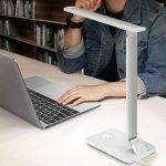 MoKo Lampe de Bureau LED, Lampe de Table Smart Touch Dimmable, Rotative avec lLuminosité Réglable/Température de Couleur, Port de Charge USB, Fonction de Mémoire, Mode Veille - Argent de la marque MoKo image 1 produit