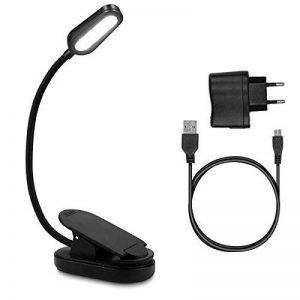 Navaris Lampe de lecture LED - Lampe à pince rechargeable via câble micro USB - Liseuse pour chevet bureau lit - Flexible et lumière réglable de la marque Navaris image 0 produit