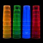 Néon Long Drink en Verre, 250ml, Lot de 20dans un ensemble en 4Styles Multicolore Néon Mix brillant Intense dans la lumière du soleil–Lumières en noir–clair, rose, vert, orange et bleu de la marque Neon image 1 produit