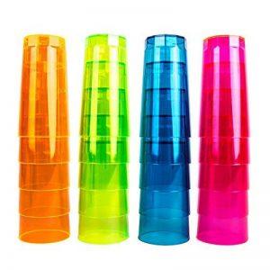 Néon Long Drink en Verre, 250ml, Lot de 20dans un ensemble en 4Styles Multicolore Néon Mix brillant Intense dans la lumière du soleil–Lumières en noir–clair, rose, vert, orange et bleu de la marque Neon image 0 produit