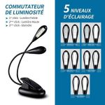 [Nouvelle Version] Portable LED Lampe de Lecture, TopElek 2*4 Led Lampe Rechargeable et Flexible, Modes de Luminosité, avec Câble USB pour Charger, Lampe de Chevet, Lumière Clip, Groupe éclairage de la marque TOPELEK image 1 produit
