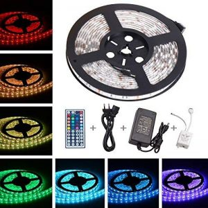 ONELD Ruban LED Multicolore 5M 5050 RGB - Ruban à LED (5m) 5050 RGB SMD Multicoulore 150 LEDs 60W, Bande LED Lumineuse avec Télécommande à Infrarouge 44 Touches et Alimentation 2A 12V de la marque ONELD image 0 produit