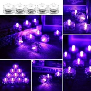 OurLeeme 12 PCS Super Bright Bougie LED Lampe florale Forme Submersible Lumières pour Décoration, Violet de la marque OurLeeme image 0 produit