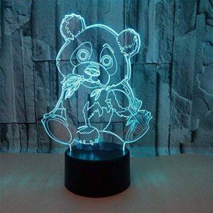 Panda Géant LED 3D Lampe Optique Illusion, Veilleuse Enfant Lampe De Nuit, 7 Color Changing Desk USB Nouveauté LED Lampe De Table Surprise Deco Ambiance Créatif Avec Câble USB de la marque YUN Night Light@ image 0 produit