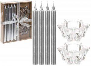 Paquet de 4 - 20cm bougies de Noël argenté scintillant avec des détenteurs d'étoile de la marque PMS image 0 produit