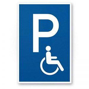 Parking handicapés enseigne (Bleu, 20x 30cm), plaque signalétique parking handicapés de parking, Réservé–pour Fauteuil Roulant, Parking freihalten pour le corps handicapés de la marque Komma Security image 0 produit