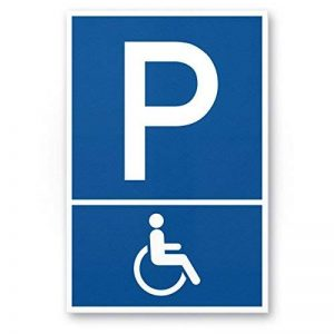 Parking handicapés, handicapés Parking enseigne (Bleu, 20x 30cm), plaque signalétique–Parking Réservé–pour Fauteuil Roulant, Parking freihalten pour le corps handicapés de la marque Komma Security image 0 produit