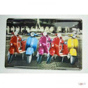 plaque d'étain Vespa de couleur sur l'écran à Rome 20x30 panneaux métalliques enseigne publicitaire Tin Rétro de la marque image 0 produit