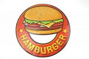 Plaque de Hamburger Tôle estampé 3D enseigne Cuisine Cuisson de cuisson Cuisine Pub Restaurant collation Snack Rétro de la marque image 0 produit