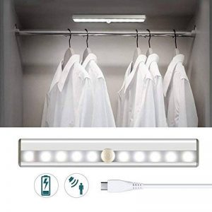 Portable USB rechargeable infrarouge lampe à induction, avec batterie au lithium de charge, veilleuse avec bande magnétique à coller, pour placard,armoire,placard escalier,couloir,armoire (1 Pack) de la marque functer image 0 produit