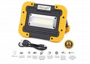 Projecteur LED Rechargeable ULTRA COMPACTE 10W | 800Lm | 7 Heures d' Autonomie | Étanche | Batterie Secours 4400mAh | Pour Chantier Garage Bricolage Travaux Activités Extérieures de la marque UbyLight image 0 produit