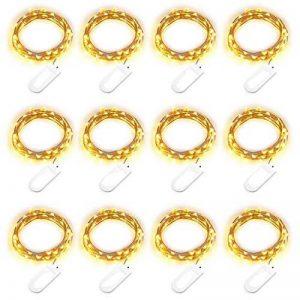 Qedertek 2M 20 LED Guirlande Lumineuse Lot de 12 Blanc Chaud en Fil Cuivre pour la Décoration de Chambre/Soirées/ Costume/Pâques (Piles Inclus) de la marque Qedertek image 0 produit
