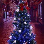 Qedertek Guirlande Lumineuse Solaire 100 LED Bleu 12 Mètres 8 Jeux de lumière Guirlande Extérieure Solaire idéal pour la Décoration de Fête Noël, Mariage, Anniversaire et Jardin de la marque Qedertek image 3 produit