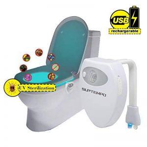 Rechargeable UV Stérilisateur LED Lampe Toilette - Détecteur de Mouvement WC Veilleuse 16 Changements de Couleur Pour WC/Cuvette Siège/Salle de Bain de la marque SUPTEMPO image 0 produit