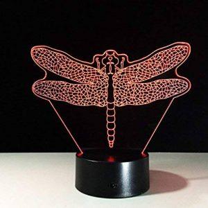 RFJJ 3D Night Light Illumination visuelle 7 Changement de couleur USB Clavier tactile & Smart Remote Lampe de bureau Nice cadeau Home Decor (蜻蜓) -vacances cadeaux de la marque RFJJ image 0 produit