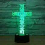 RFJJ 3D Night Light Illumination visuelle 7 Changement de couleur USB Touches tactiles et Smart Remote Lampe de bureau Nice cadeau Home Decor (Cross) -vacances cadeaux de la marque RFJJ image 1 produit