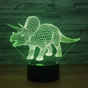 RFJJ Veilleuse 3D Illumination visuelle 7 Changement de couleur Clavier USB tactile & Smart Remote Lampe de bureau Nice cadeau Home Decor (dinosaure) -vacances cadeaux de la marque RFJJ image 0 produit