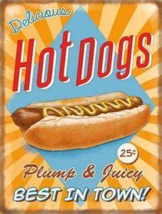RKO Delicious Hot chiens. saucisse en un doigt rouleau, nourriture rétro, vieux Publicité VINTAGE SIGNE pour cuisine, BARRE, café ou bistrot métal/ENSEIGNE mural en acier - 20 x 30 cm de la marque RKO image 0 produit