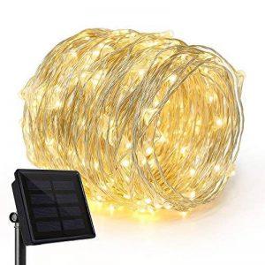 Rophie Guirlande lumineuse solaire étanche en fil de cuivre avec 200LED blanc chaud - Longueur 22m - Guirlande lumineuse pour l'intérieur et l'extérieur - Idéale comme décoration de Noël, pour une fête ou un mariage de la marque Rophie image 0 produit