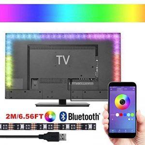 Rétroéclairage TV LED, 2M USB 5050 Bande LED Bias Lighting Contrôle sans fil Blutooth APP, Multicolors et 4 mode dynamique pour 40 à 60 pouces HDTV, Moniteur PC, Kits d'éclairage d'accentuation Home Cinéma (Réduire la fatigue oculaire et augmenter la clar image 0 produit