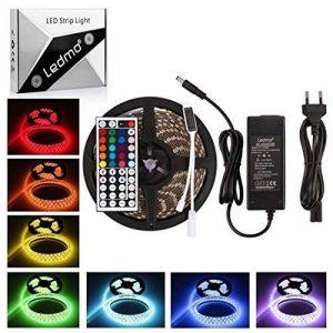 Ruban Led 5M, Led Ruban Lumineuse RGB IP65 Imperméable,Bandeau Led,5050 SMD 300 LEDs,Bande Led avec Télécommande à Infrarouge 44 Touches et Alimentation 5A 12V de la marque LEDMO image 0 produit