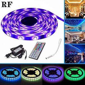 Ruban LED avec Contrôleur RF , 5M Etanche 5050SMD RGB Multicolore 150 LED Bande Flexible Lumineux Strip Light + Télécommande à infrarouge 44 touches + Alimentation 2A 12V de la marque EBajkalo image 0 produit