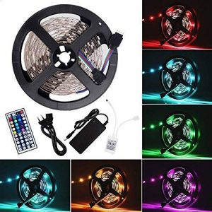 Ruban LED Bande LED Lumineuse - Ruban à LED (5m) 5050 RGB SMD Multicolore 150 LEDs 60W, avec Télécommande à Infrarouge 44 Touches et Alimentation 2A 12V de la marque Sunnest image 0 produit
