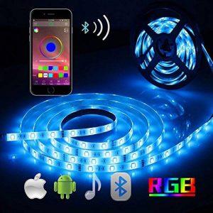 Ruban LED Bande Lumieuse Bluetooth, ALED LIGHT Bande LED Étanche 5050 RGB 5M 150 LEDs, Contrôlé par APP du Smartphone Android et IOS, avec Récepteur Bluetooth et Alimentation 12V 3A et Télécommande IR 24 Touches de la marque ALED LIGHT image 0 produit