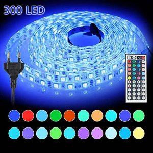Ruban LED Etanche 5M 5050 RGB | Innoo Tech Bande Lumineuse Flexible avec 300 Leds | Strip Light Ultralumineux et Multicolore | Télécommande Infrarouge 44 Touches + Adapteur + Alimentation 3A 12V | Lumière d'Ambiance comme Décoration Magnifique pour la Mai image 0 produit