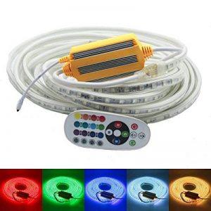 Ruban à LED RGB Multicolore, Strip Flexible Bande, 220V AC 5050 IP68 étanche, LED Strip Light avec changement de couleur 24 Touches (15m) de la marque DUVERT image 0 produit