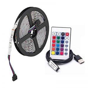 Rubans à LED RGB d'USB, 5M 30leds/m 5V 5050 RGB Couleur LED Light avec 24Key à distance pour l'éclairage de fond de TV, lumière de ruban, éclairage de corde, cuisine a mené l'éclairage bande de bande de décoration de LED (non imperméable) de la marque XSY image 0 produit