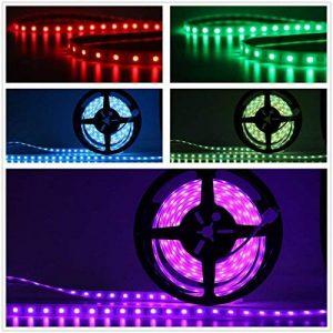 Salcar Kit de Ruban à LED 5m RGB Tuyau lumineux avec 300 LEDs (SMD5050), IP67 protégé contre l'eau/étanche/extérieur, 16 couleurs au choix, télécommande IR 24 touches incluse, contrôleur et bloc d'alimentation 12V 60W de la marque Salcar image 0 produit