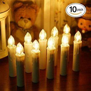 Samoleus Guirlande de Sapin Bougie, 10 pièces Blanc Chaud LED Lumineuse de Noël Bougies avec Clip 7 clé Télécommande pour Décorations d'arbres, Lumières de Noël de la marque Samoleus image 0 produit