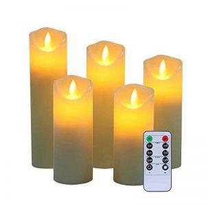 Sans flamme Bougies tropf libre Cire Véritable pas plastique, les piliers de Danse de flammes et 10LED Key télécommande avec minuteur 24h Function réaliste yiwei... (5x 1, ivoire) de la marque YIWER image 0 produit