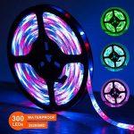 SENDIS Ruban LED Etanche 5M 3528 RGB Multicolore SMD 300 LED Bande Flexible Lumineux Strip Light + Télécommande à infrarouge 24 touches + Alimentation 2A 12V de la marque SENDIS image 1 produit