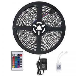 SENDIS Ruban LED Etanche 5M 3528 RGB Multicolore SMD 300 LED Bande Flexible Lumineux Strip Light + Télécommande à infrarouge 24 touches + Alimentation 2A 12V de la marque SENDIS image 0 produit