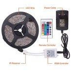 SENDIS Ruban LED Etanche 5M 3528 RGB Multicolore SMD 300 LED Bande Flexible Lumineux Strip Light + Télécommande à infrarouge 24 touches + Alimentation 2A 12V de la marque SENDIS image 3 produit