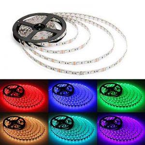 Set, 5m bande LED 5050RGB LED Strip Lights, bande LED avec télécommande 44touches, contrôleur LED RVB avec bloc d'alimentation 12V 5A, tuyaux flexibles bande LED, lumière LED Guirlande lumineuse, LED multicolore Multicolore, de nombreuses fonctions [ image 0 produit