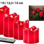 Set de 4 bougies LED en cire véritable - Rouge avec flamme vacillante de la marque Britesta image 1 produit