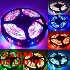 Sienoc Kit complet 5m RGB Multicolore Ruban lumineux 300LED bande Strip Stripe (RVB) Barre bande avec 300leds (SMD 3528) avec bloc d'alimentation et télécommande, 1 Satz RGB 12 volts de la marque SIENOC image 0 produit