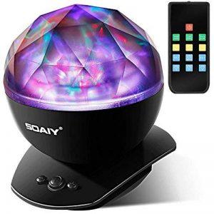 SOAIY Lampe d'Ambiance LED Multicolore Lampe de Nuit avec Projection 4 Minuteries & 3 Niveaux de Luminosité avec Télécommande - Noire de la marque SOAIY image 0 produit
