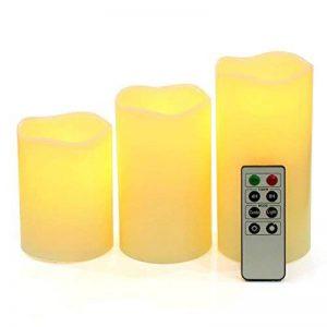 SONGMICS Lot de 3 Bougies à LED avec lumière Jaune avec la télécommande minuteur à Pile GLC75D de la marque SONGMICS image 0 produit