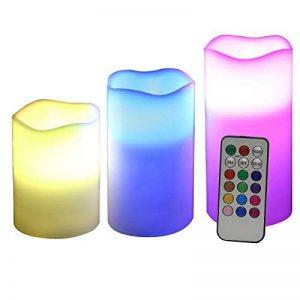 SONGMICS Lot de 3 Bougies à LED avec lumière Multicolore avec la télécommande minuteur à Pile GLC75C de la marque SONGMICS image 0 produit