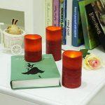 SONGMICS Lot de 3 Bougies à LED Rouges en Cire avec Lumières Jaunes Minuterie GLC75R de la marque SONGMICS image 2 produit