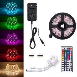 Sunix Kit de Ruban LED RGB 2M 5050 SMD 60 LEDs, Adapteur Flexible Strip Light + télécommande à Infrarouge 44 Touches + Alimentation 2A 12V de la marque Sunix image 0 produit