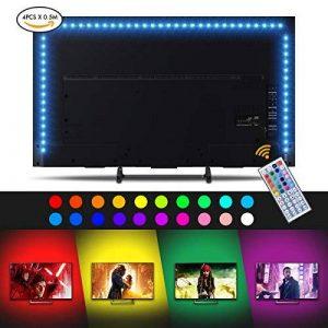 Sunix Ruban à LED pour HDTV Rétroéclairage TV USB pour téléviseur HD 40 à 60 Pouces, Flexible Strip Light (50cm x 4) + télécommande à Infrarouge 44 Touches LED Light Strip pour TV, Bureau, Ordinateur de la marque Sunix image 0 produit