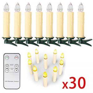 SunJas Guirlande Lumineuse de Noël 30 Bougies LED Blanc Chaud à Pince pour Sapin arbre de Noël avec télécommande sans fil chandelles LED de la marque Sunjas image 0 produit