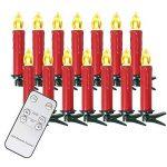 SunJas Guirlande Lumineuse de Noël 40 Bougies LED Blanc Chaud à Pince pour Sapin arbre de Noël avec télécommande sans fil chandelles LED (30er, rouge) de la marque Sunjas image 2 produit